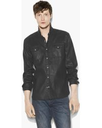 John Varvatos - Coated Cotton Western Shirt - Lyst