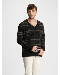 John Varvatos - Jacquard Stripe V-neck Sweater - Lyst