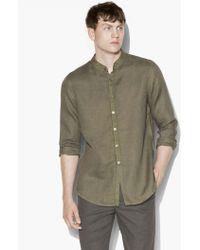 John Varvatos - Garment Dyed Slim Fit Band Collar Long Shirt - Lyst