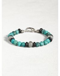 John Varvatos - Turquoise & Onyx Bracelet With Sterling Silver Urchins - Lyst