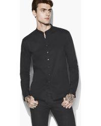John Varvatos - Solid Band Collar Shirt - Lyst