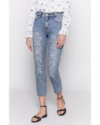 Joie - Weslyn Eyelet Cropped Jeans - Lyst