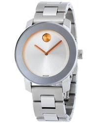 Movado - Bold Silver Dial Stainless Steel Watch - Lyst