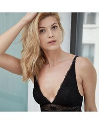 Lyst - Samantha Chang All Lace Glamour Bodysuit in Black a657db14e