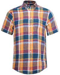 GANT - Regular Fit Linen Madras Check Short Sleeve Shirt - Lyst