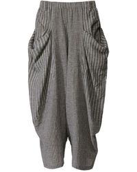 Moyuru - Striped Gathered Pocket Trousers - Lyst