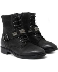 Inuovo - Burnished Leather Facula Buckle Boots - Lyst