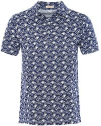 Altea - Jersey Cotton Leaf Print Smith Polo Shirt - Lyst