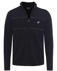Fred Perry - Zip-through Textured Cardigan - Lyst