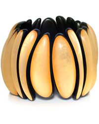 Monies - Ebony Gold Leaf Bracelet - Lyst