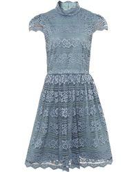 Alice + Olivia Maureen High Neck Lace Dress