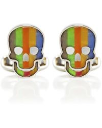 Paul Smith Striped Skull Mother-of-pearl Cufflinks - Multicolour