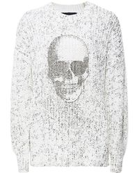 360cashmere - Izzy Skull Front White Jumper - Lyst