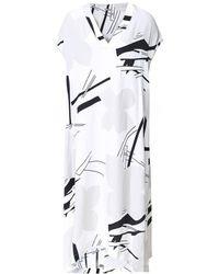 Crea Concept - Linen Blend V-neck Printed Dress - Lyst