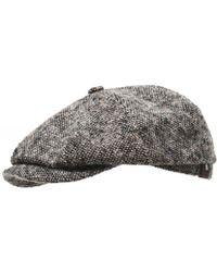 7bfc705dfa6 Lyst - Stetson Virgin Wool Hatteras Herringbone Cap in Black for Men