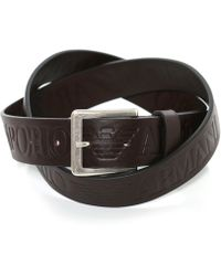 Armani - Leather Logo Tongue Belt - Lyst