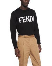 Fendi - Virgin Wool Logo Sweater - Lyst