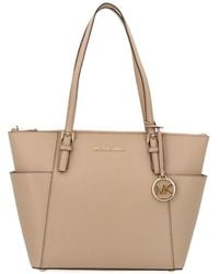9a57aa4d4f42db Lyst - MICHAEL Michael Kors 'large Jet Set' Pocket Tote in Natural