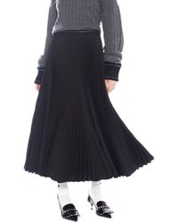 12f5a41e812680 Prada Long Satin Skirt in Black - Lyst