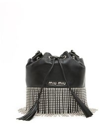 Miu Miu - London Night Crystal-embellished Leather Bucket Bag - Lyst
