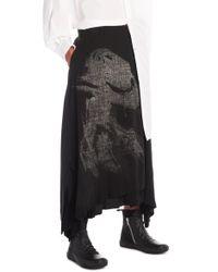 Yohji Yamamoto - Printed Layered Wool Blend Skirt - Lyst