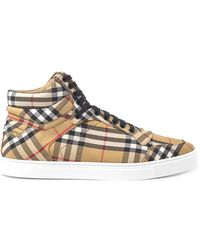 Burberry - Vintage Check Canvas High Top Sneakers - Lyst