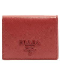 18361e839eaf Lyst - Prada Logo Flap Wallet in Red