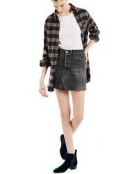 RE/DONE - High Waisted Black Denim Skirt - Lyst