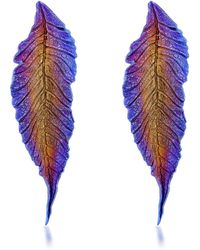 Sidney Garber - Delhia Leaf Titanium Earrings - Lyst