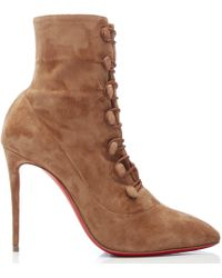 Christian Louboutin - French Tutu Brown Suede Ankle Boots - Lyst