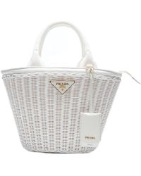 2459f19687c7 Prada Giardiniera Canvas And Leather-trimmed Wicker Tote in White - Lyst