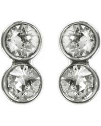Karen Millen - Tiny Dot Stud Earrings - Silver Colour - Lyst