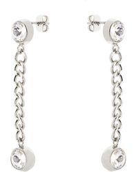 Karen Millen - Quantum Crystal Drop Earrings - Km - Lyst