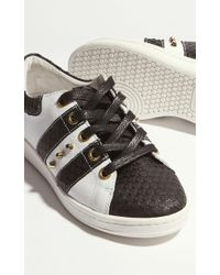John Lewis - Leather Lace Up Trainer - Black & White - Lyst