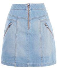 Karen Millen - Zipped Denim Skirt - Lyst