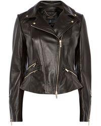 Karen Millen - Leather Jacket Gold Trims - Lyst