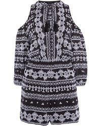 Karen Millen - Embroidered Playsuit - Lyst