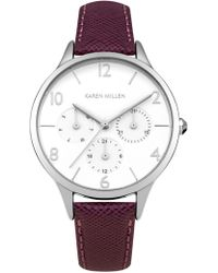 Karen Millen - Multi-dial Leather Watch - Lyst