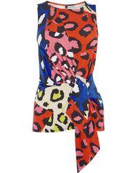 Karen Millen - Leopard Tie-waist Top - Lyst