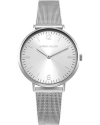 Karen Millen - Contemporary Mesh Strap Watch - Silver Colour - Lyst