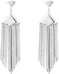Karen Millen - Leather Fringe Earrings - Lyst