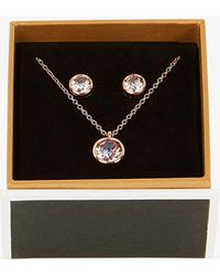 Karen Millen - Crystal Pendant & Earring Set - Lyst