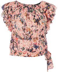 Karen Millen - Floral Ruffled Top - Lyst