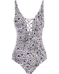 Karen Millen - Tie-front Swimsuit - Lyst