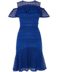Karen Millen - Cold-shoulder Lace Dress - Lyst