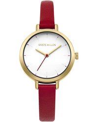 Karen Millen - Skinny Leather Strap Watch - Red - Lyst