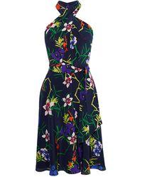 Karen Millen - Floral Halterneck Dress - Lyst