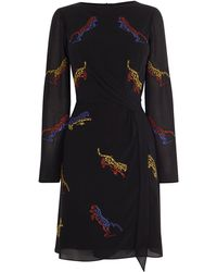 Karen Millen - Knot Dress With Embroidered Tigers - Lyst