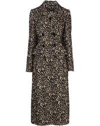 Karen Millen - Leopard Print Longline Coat - Lyst
