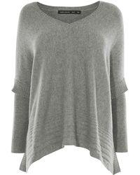 Karen Millen - Skinny Sleeve Poncho Knit - Grey - Lyst
